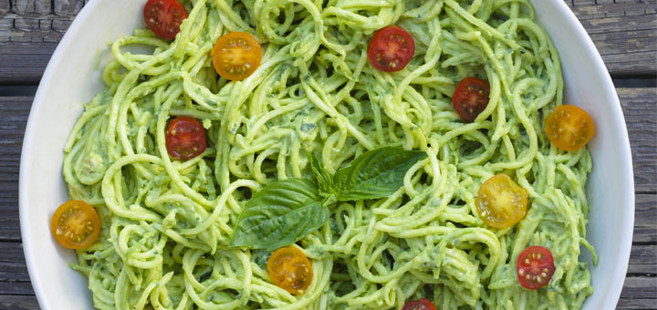 Zucchini Noodles Tossed In An Avocado Pesto