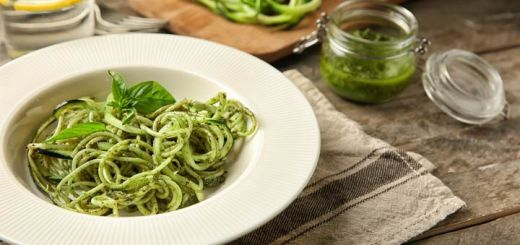 Zoodles Tossed In An Avocado Herb Pesto
