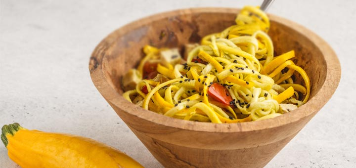 Yellow Squash Noodles Tossed In An Asian Sauce