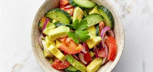 Spicy Cucumber, Avocado, Tomato & Onion Salad