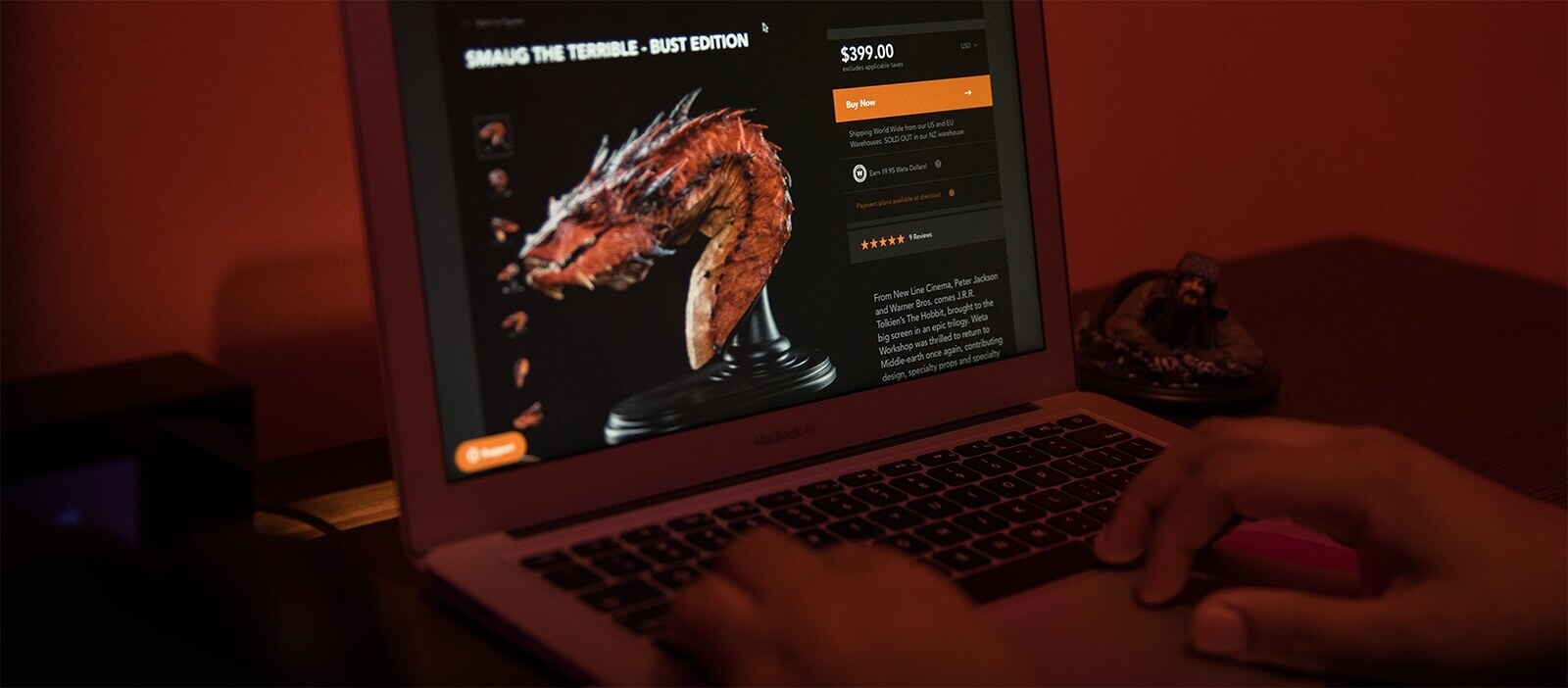 Weta Workshop website on laptop