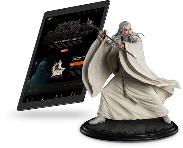 Weta Workshop's eCommerce app on ipad, next to Weta Workshop figurine