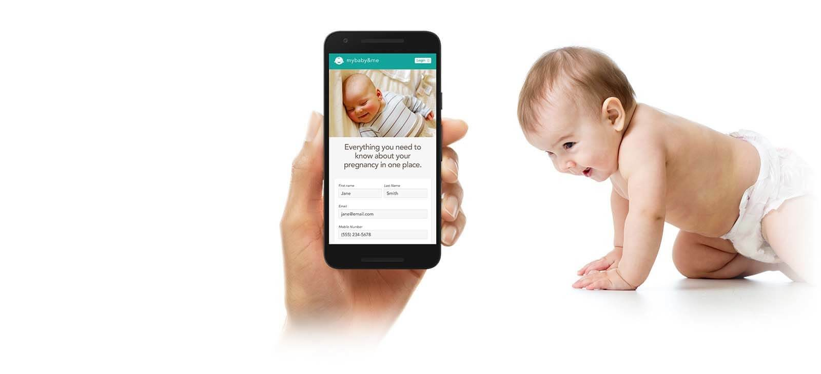 Kaiser Permanente iOS App on iPhone with smiling baby