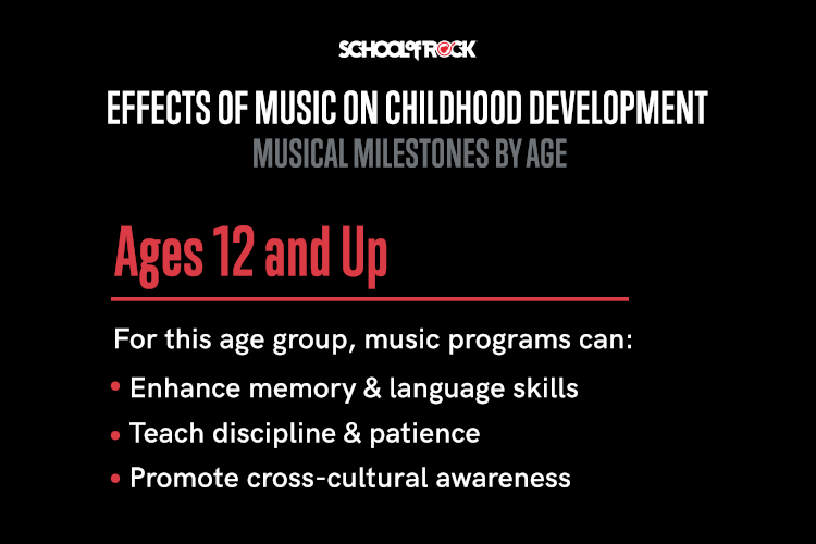 For ages 12 and up, music program can: enhance memory, teach discipline and patience, and promote cross-cultural awareness.