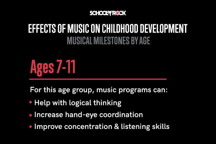 For ages 7 to 11, music programs can: help with logic, improve hand-eye coordination, and improve focus and listening skills.
