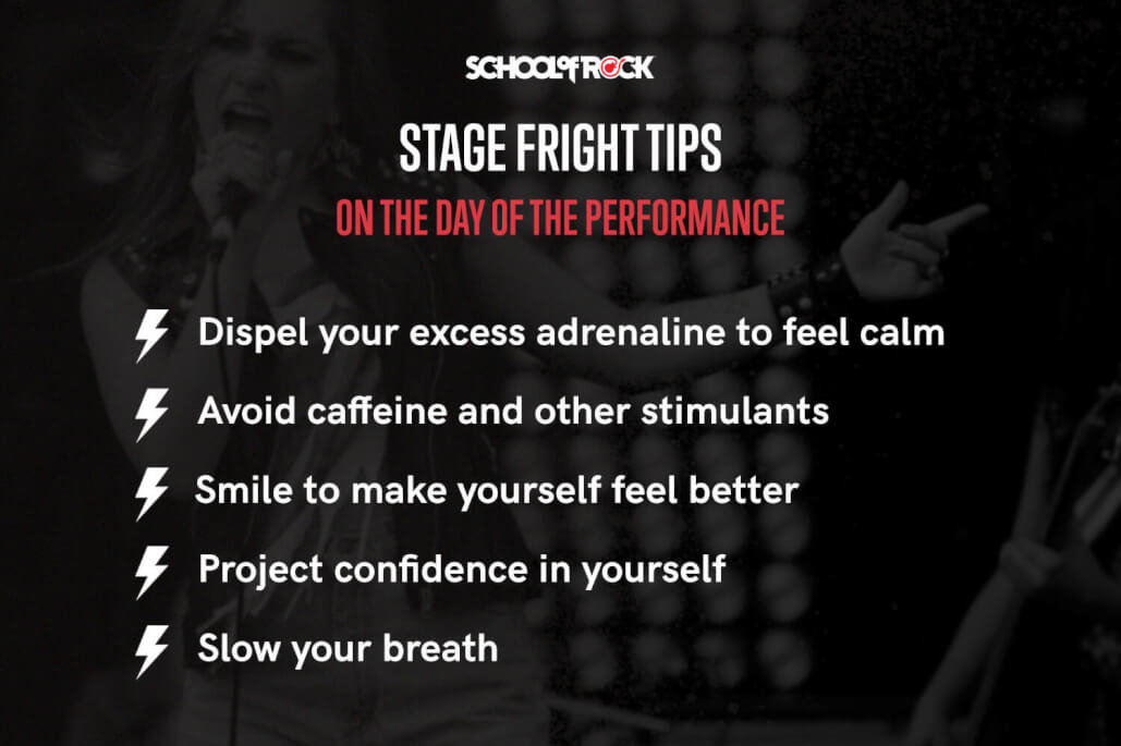 Stage fright tips include: dispel adrenaline, avoid caffeine, smile to feel better, project confidence, and slow your breath.