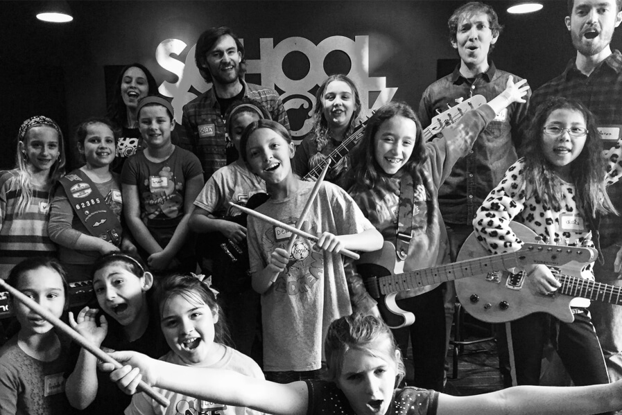 girl scouts rock, girls scouts earning their music badge, half day music workshop