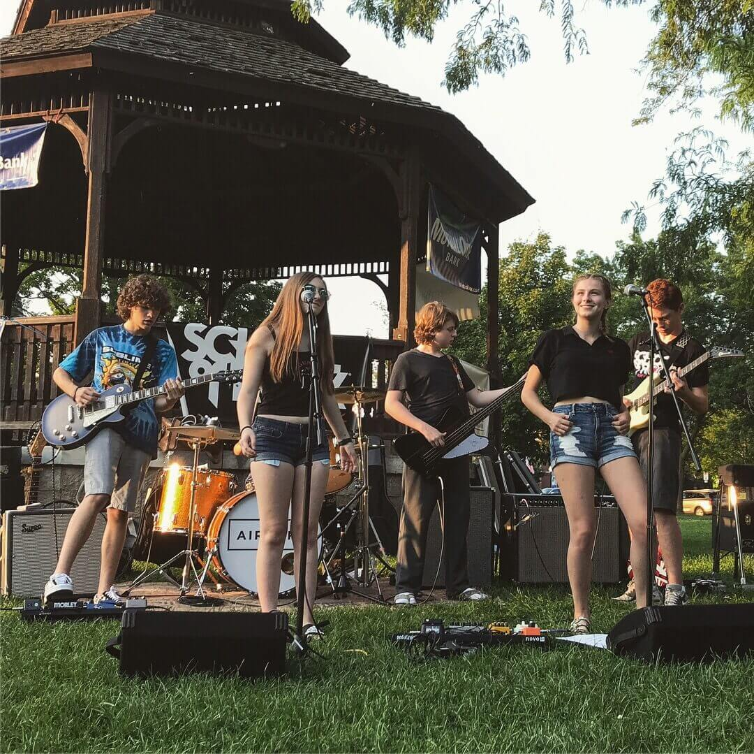 Our House Band performing on the Natick Common for the Natick Summer Concert Series.