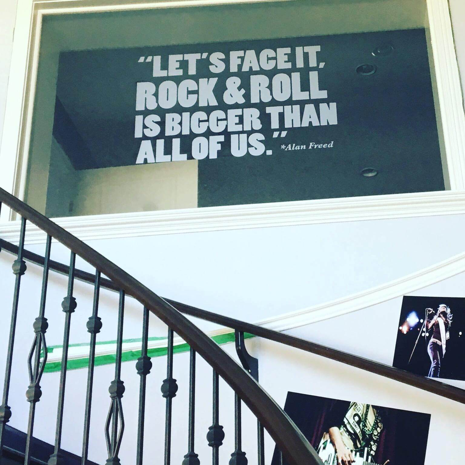 Our glass window with the awesome Alan Freed quote in the 'Lzzy Hale' vocal lesson room here at School of Rock Calgary South