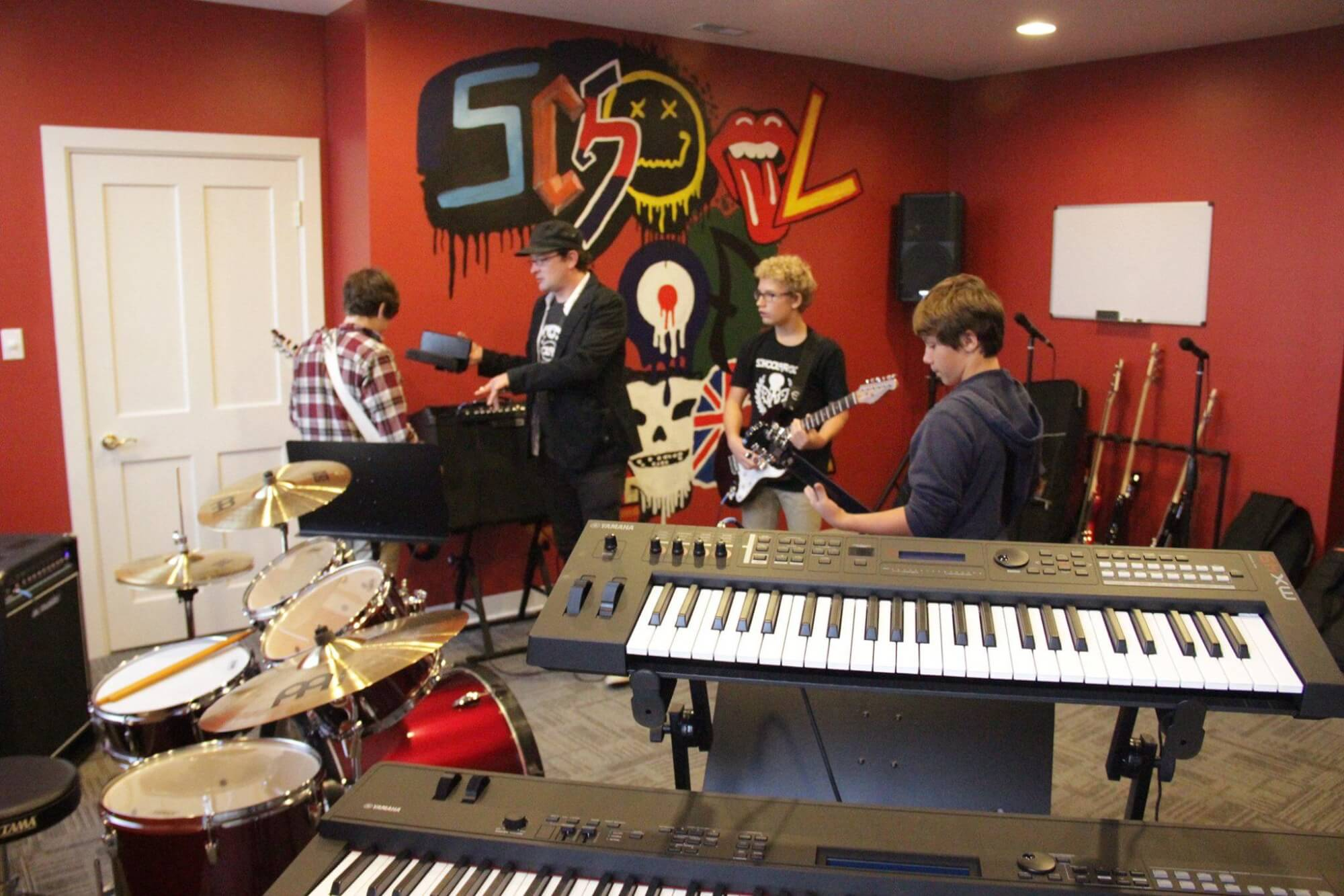 School of Rock mural in rehearsal room A