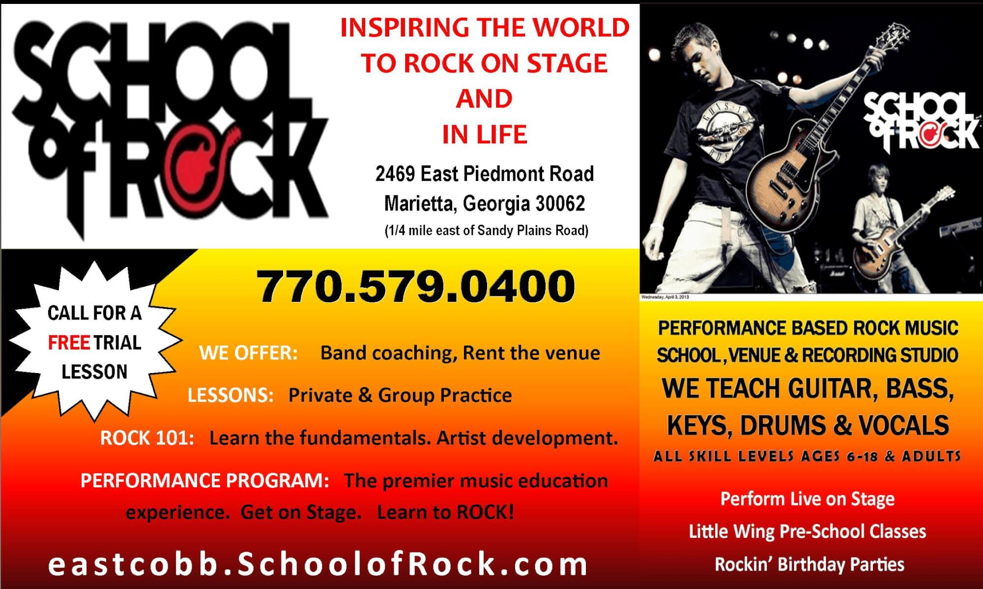 CALL FOR A FREE TRIAL LESSON TODAY!