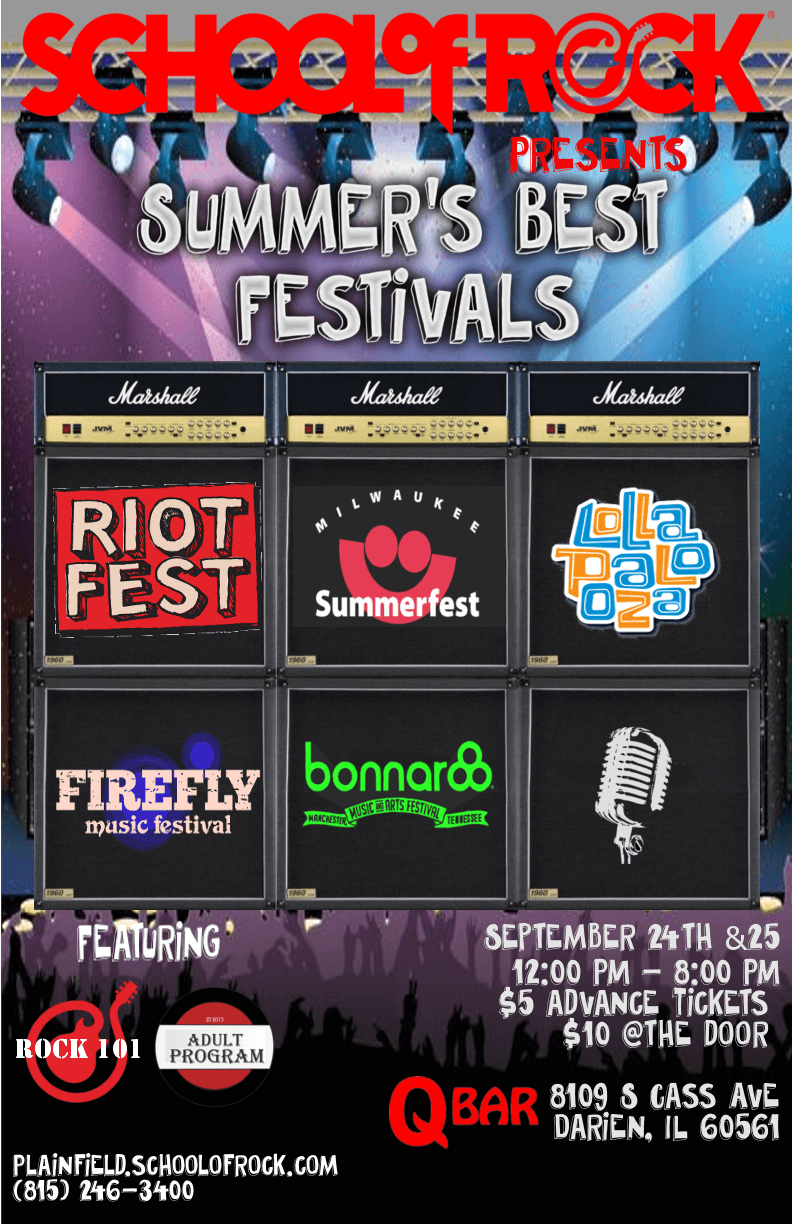 Summer's Best Festivals! 9/24 and 9/25 from 12:00 PM - 7:30 PM QBar in Darien, IL $5 in advance $10 @ the door