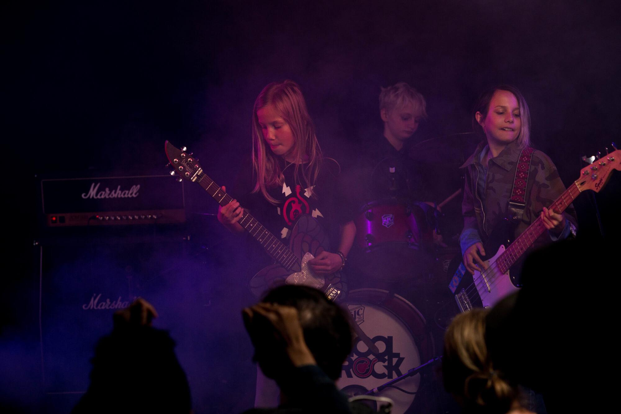 Performing onstage.