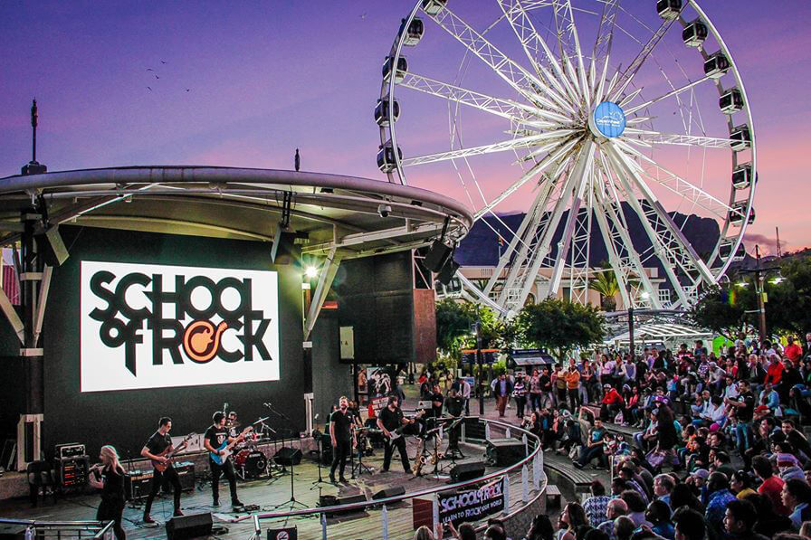 Our instructor band, Team Rock, performing at the V & A Waterfront Amphitheatre.