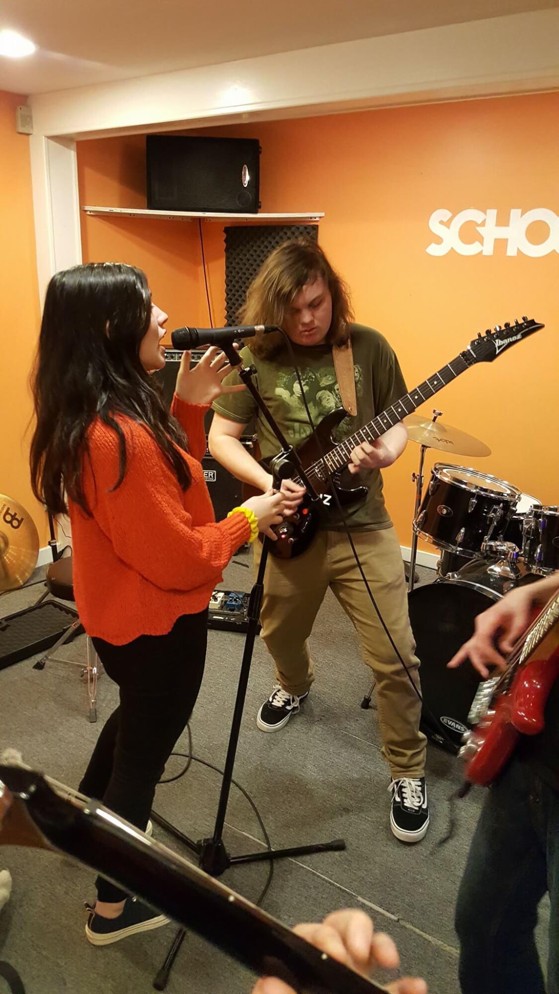 Team work while rehearsing.