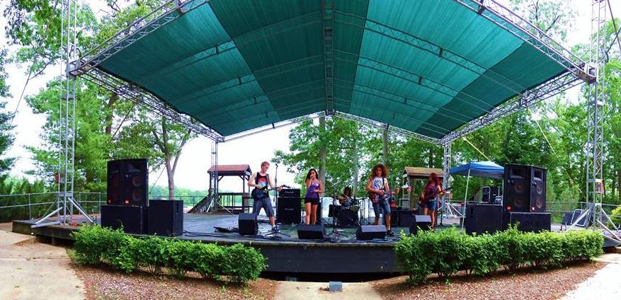 Playing live at Six Flags.
