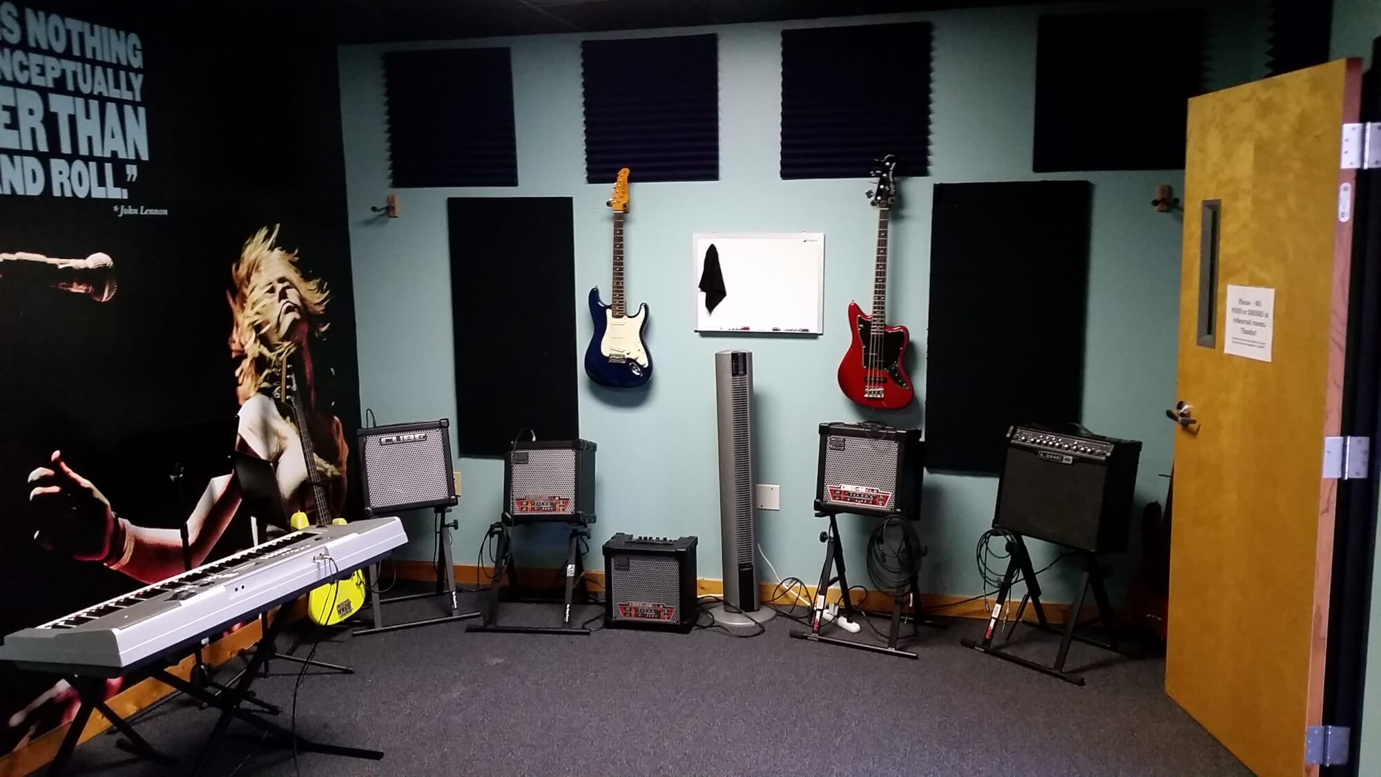 Rehearsal room at School of Rock Springfield.