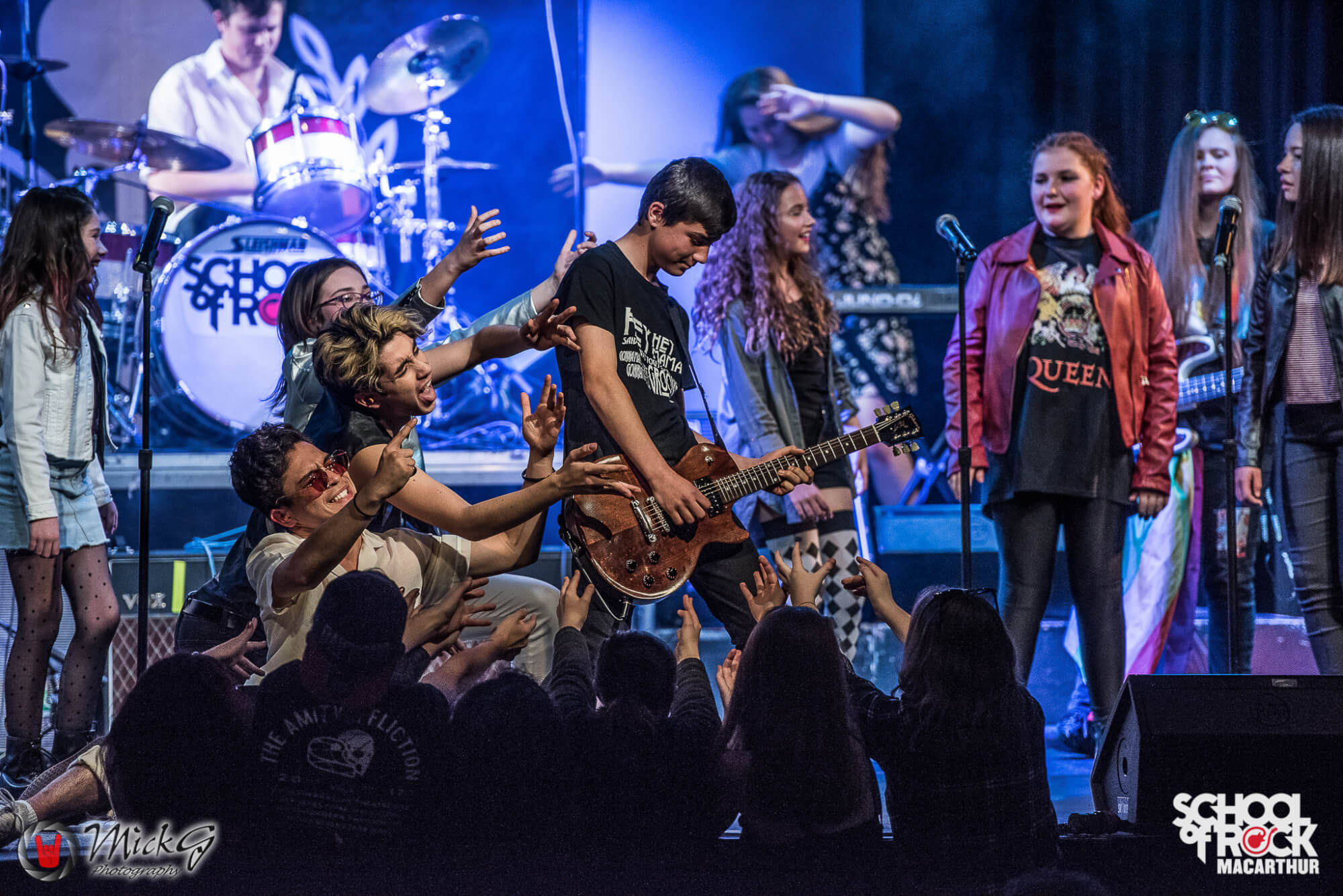 School of Rock Macarthur performing a tribute to Queen.