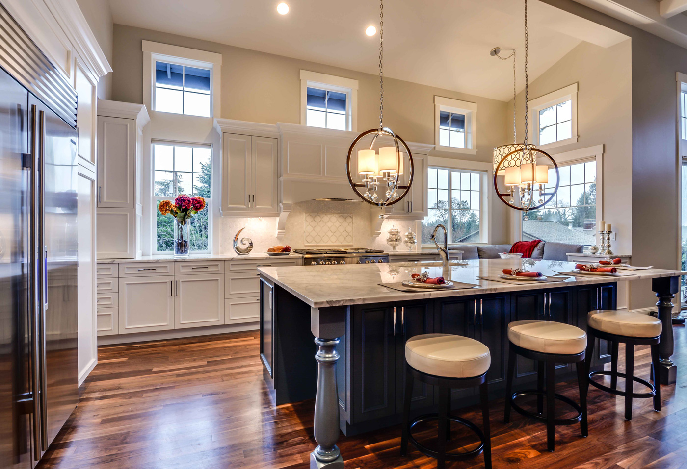 wooden tiled kitchen with white marble tops