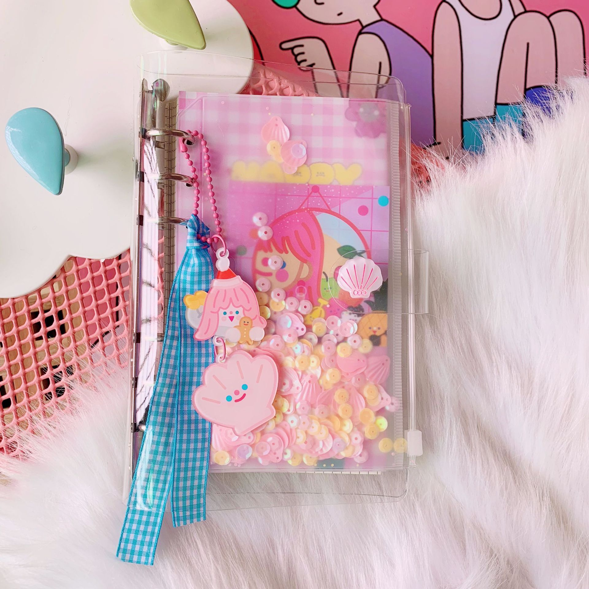 Mini Notebook with Blue Plaid Lace
