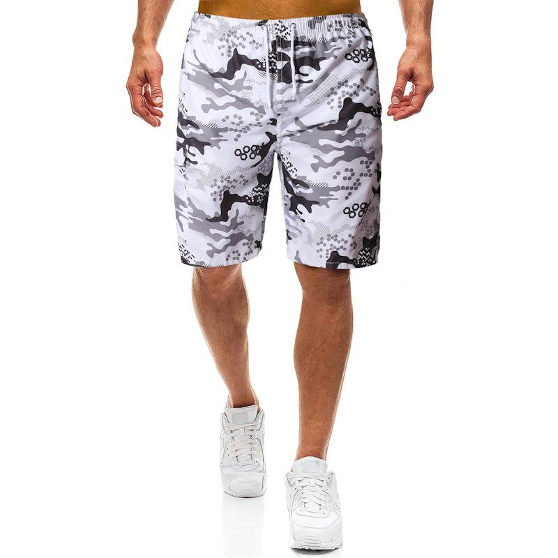 Grayscale Camouflage Beach Shorts
