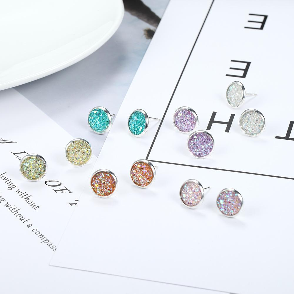 Classic Colored Stud Earrings (6 Pairs/Set)