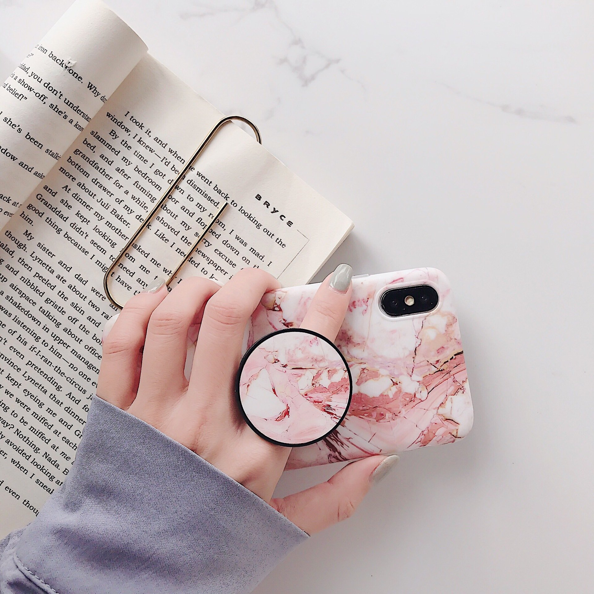 Marble Phone Case with Grip Stand