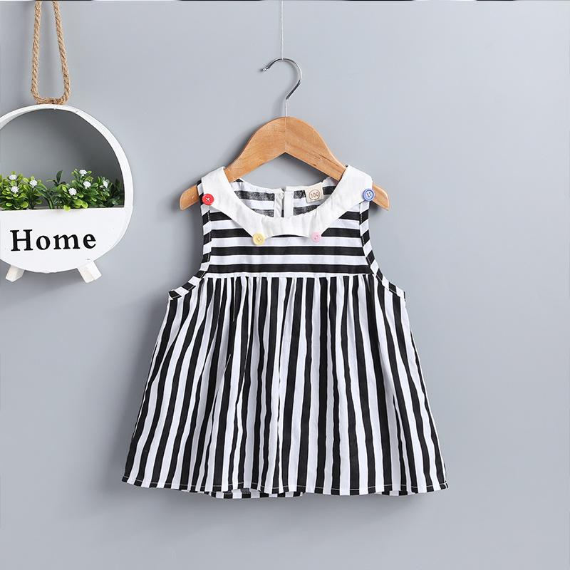 Baby Girl's Striped Round Neck Dress