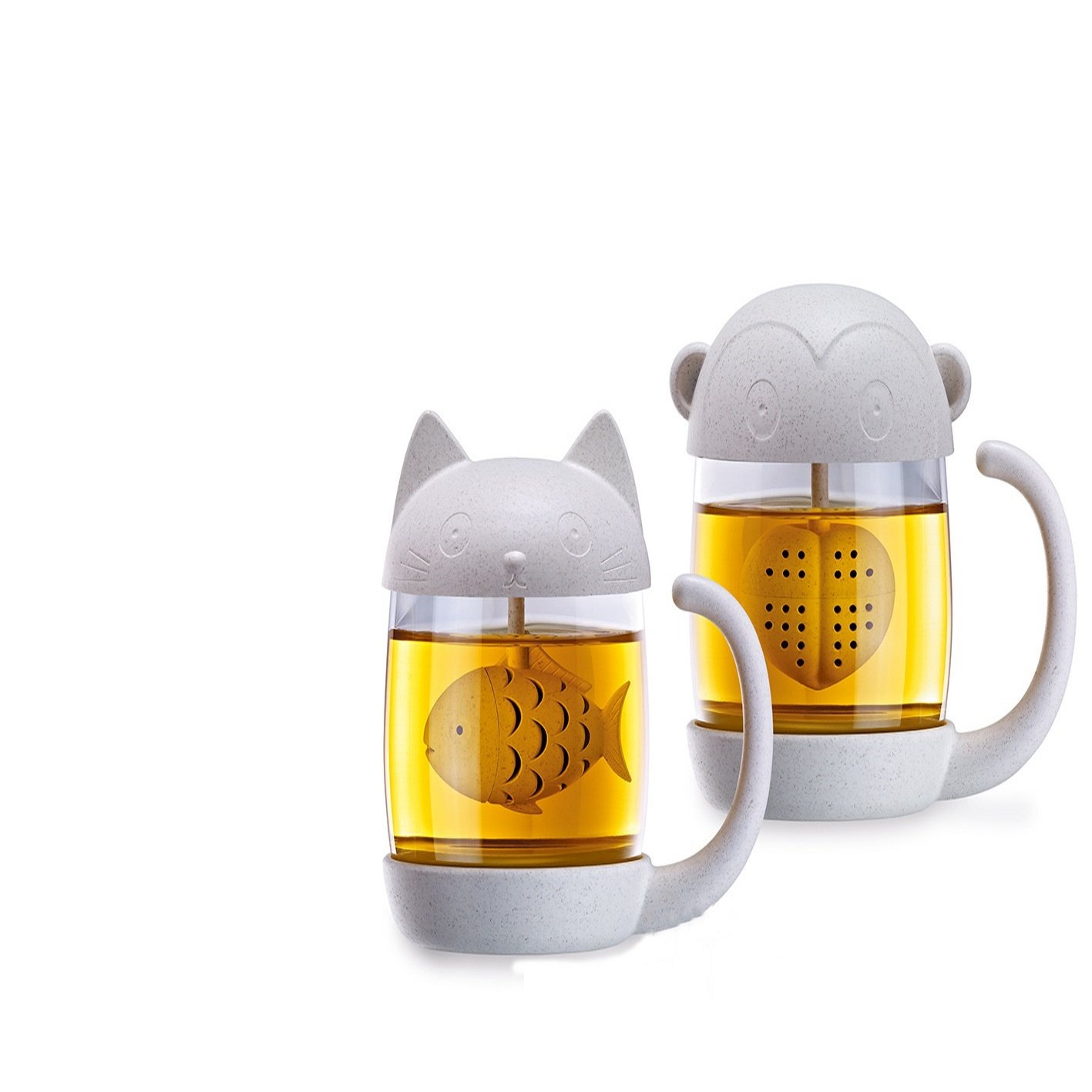 Barley Tea Cat Glass Mug with Fish Strainer