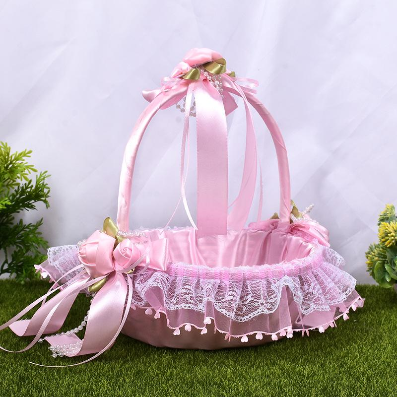 Creative Flower Basket with Lace and Ribbon