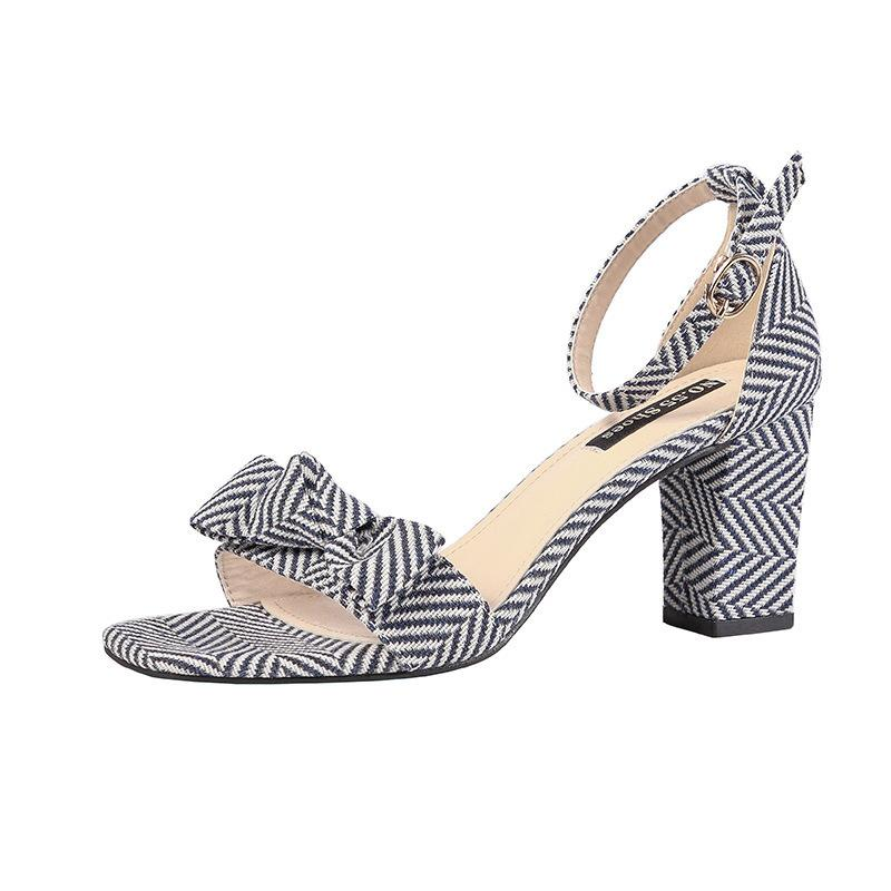 Striped Heel Open Sandals