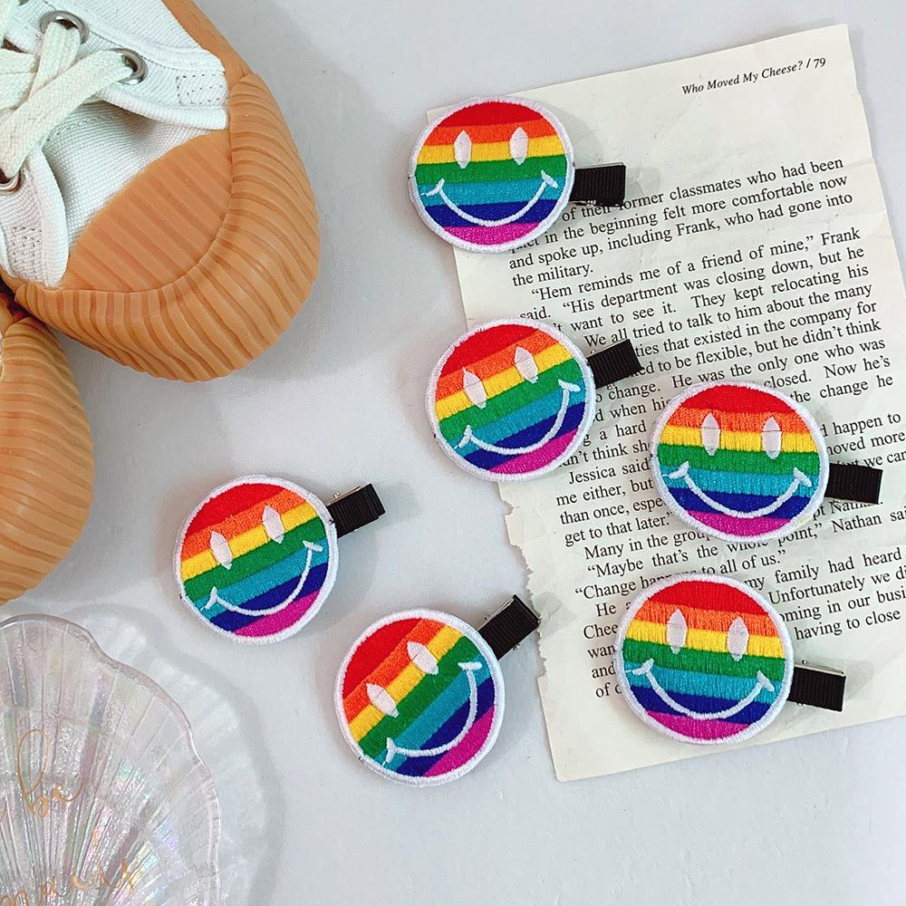 Embroidered Rainbow Smiley Clip