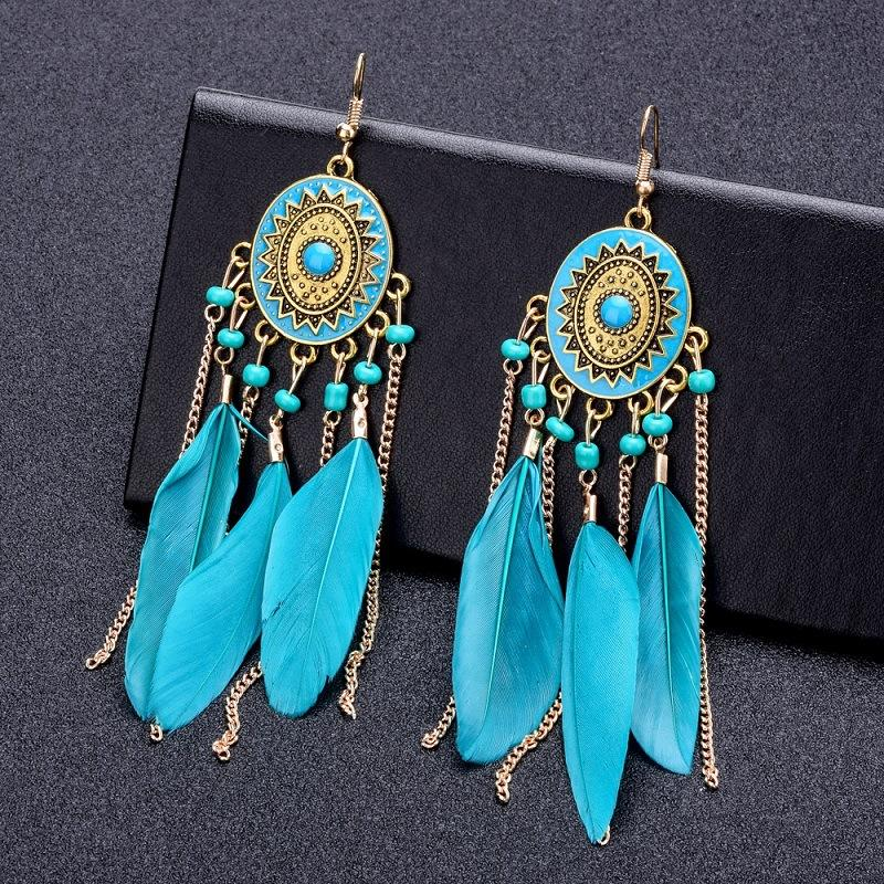 Retro Feather and Beads Boho Earrings