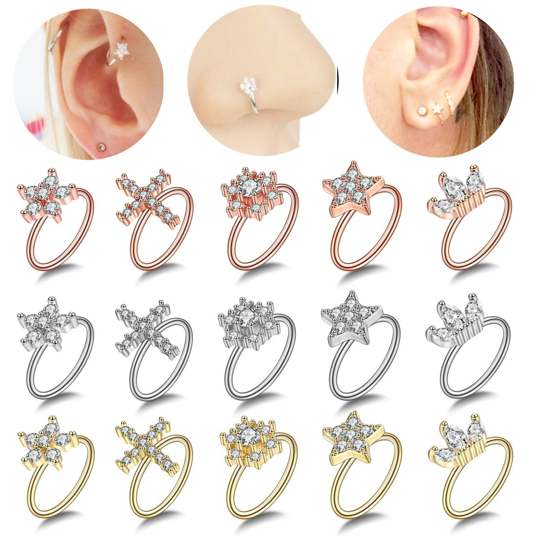Brass Nose Ring with Artificial Zircon  (Color and Design Varies)