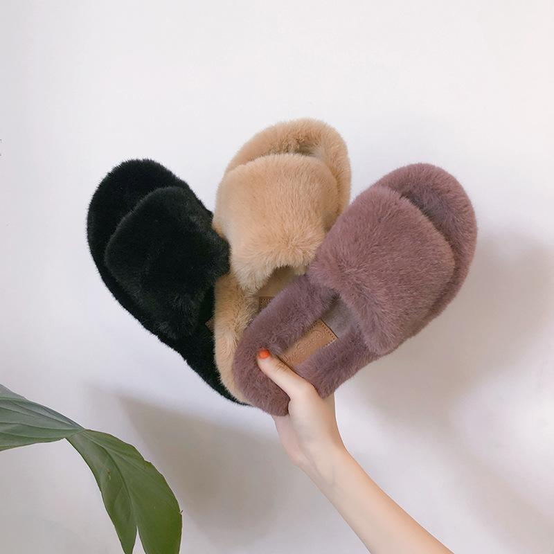 Faux Fur Strap Slippers