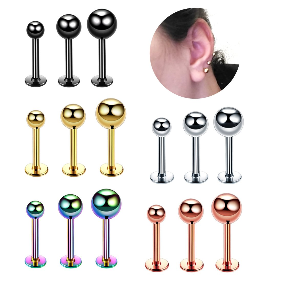 Stainless Steel Standard Threaded Labret (Color/Size Varies)