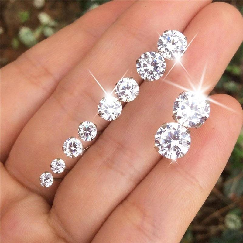 Charm Zircon Stud Earrings (5 Pairs/Set)