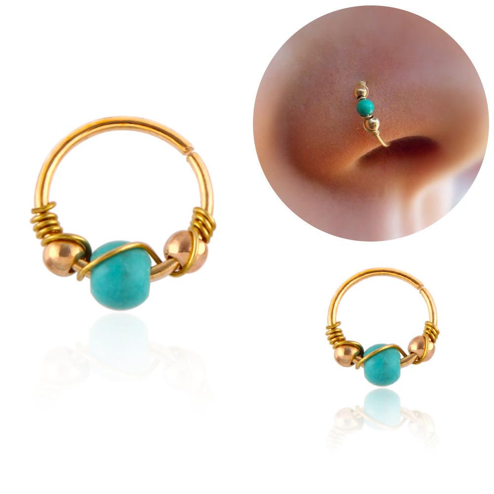 Turquoise Nose Hoops