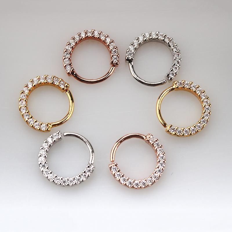 Stainless Steel with CZ Septum Piercing Ring