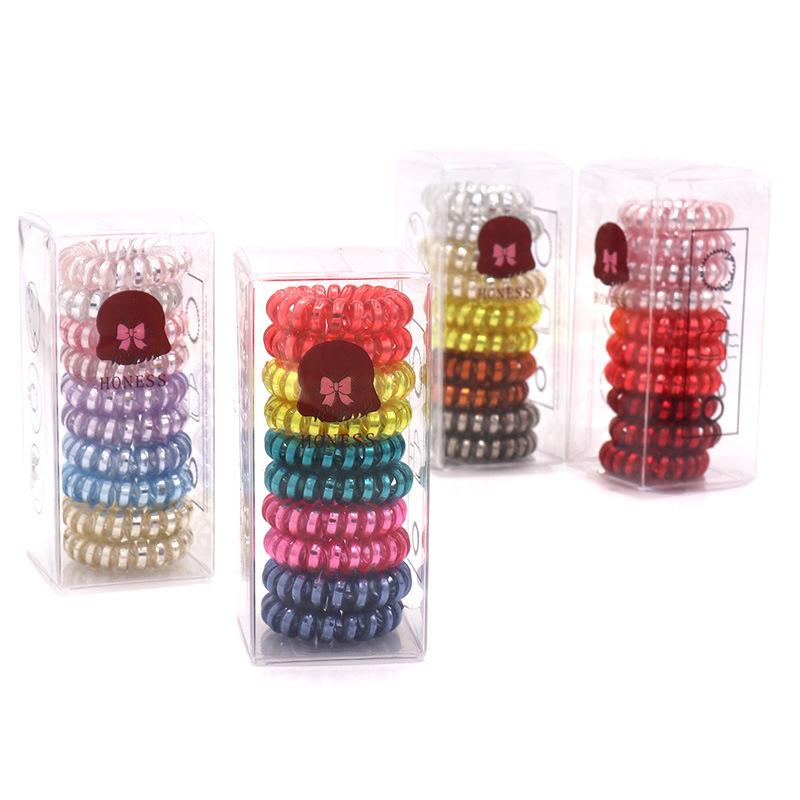 Silver Strip Telephone Cord Hair Rings (10 Pieces/Set)