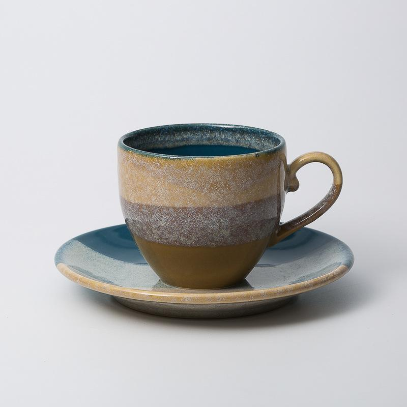 Mino-Fired Ceramic Mug with Saucer