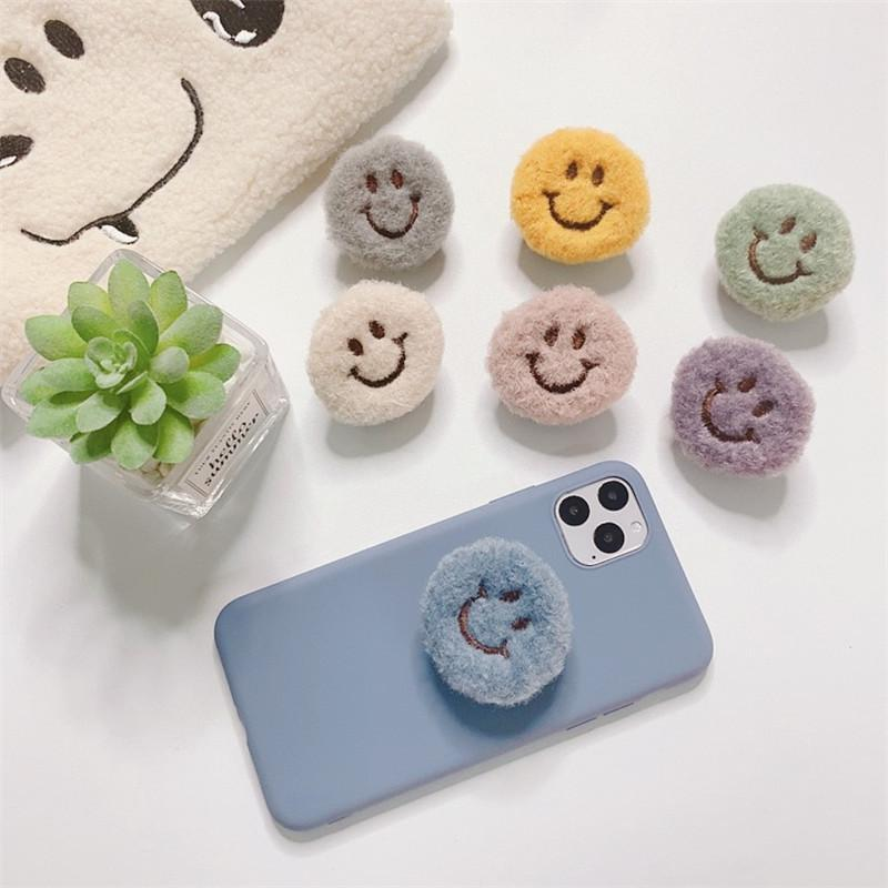 Plush Smiley Phone Hand Grip