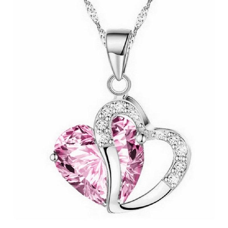 Zircon and Crystal Heart Necklace