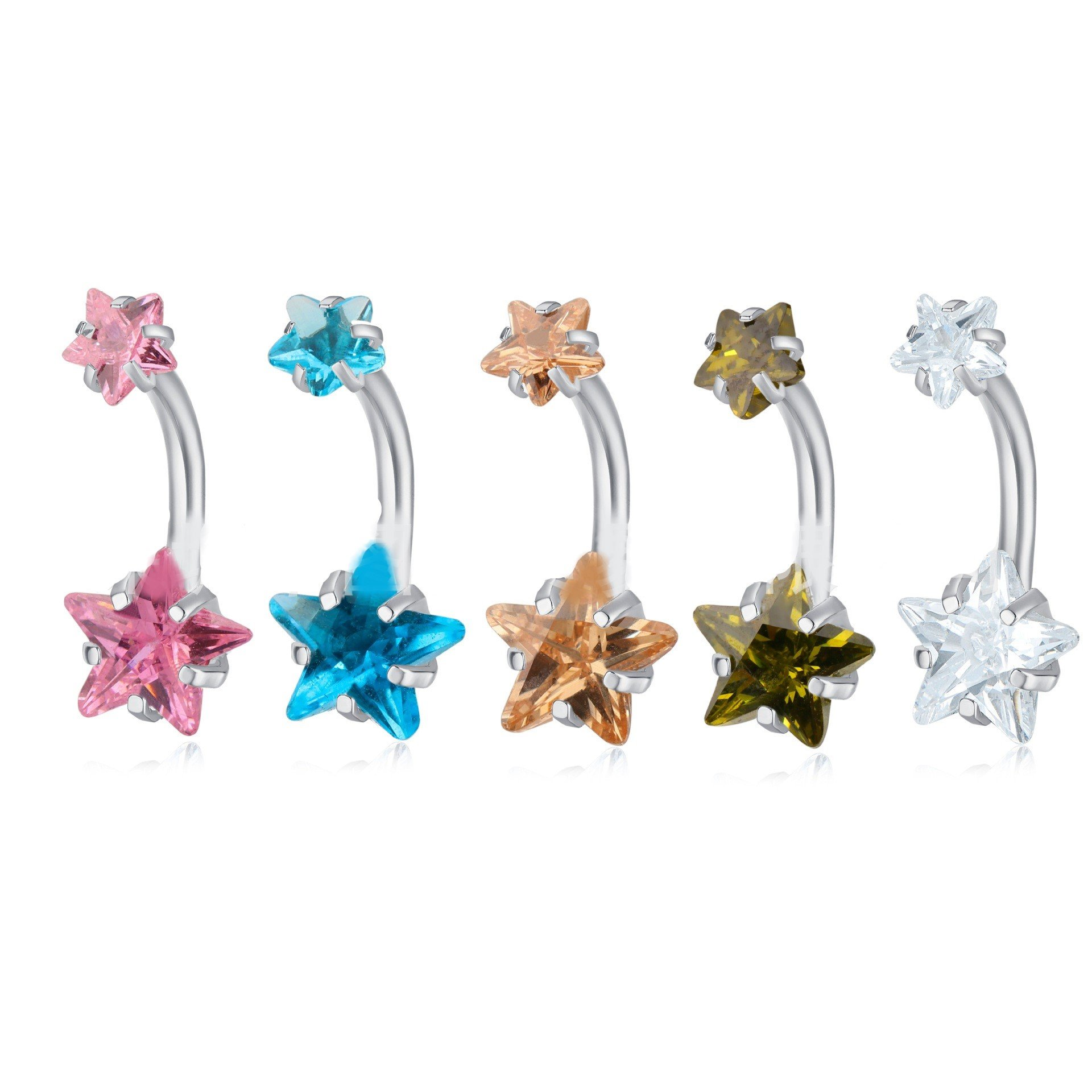 Double Star Navel Ring
