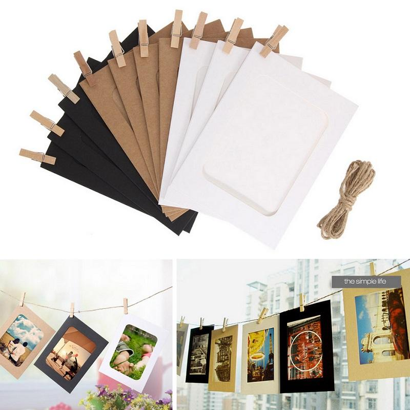 Paper Photo Frame with Rope and Clips