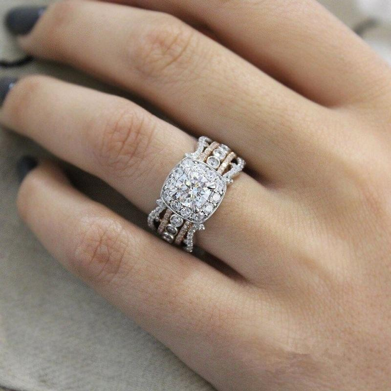 Square Crystals Princess Ring