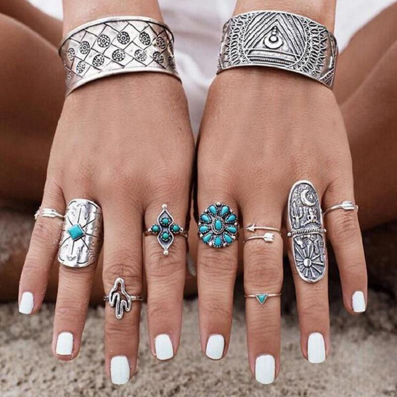 Turquoise Vintage Ring (9 Pieces/Set)