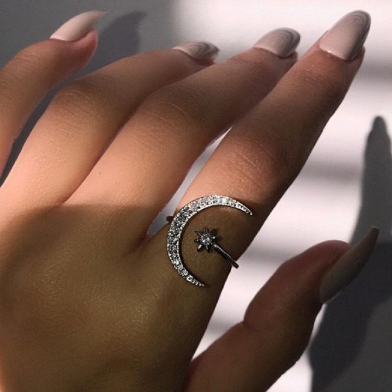 Crescent Moon and Star Open Ring