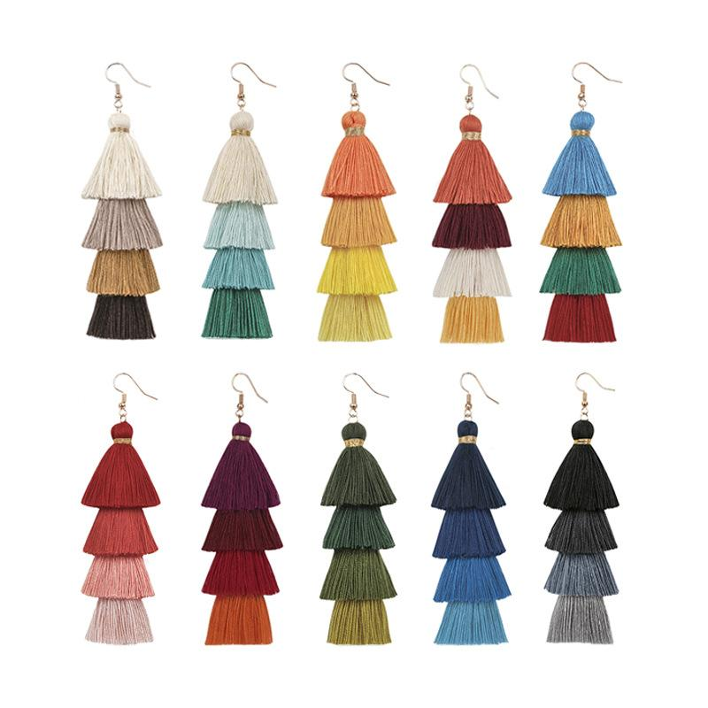 Multilayered Tassel Colorful Earrings