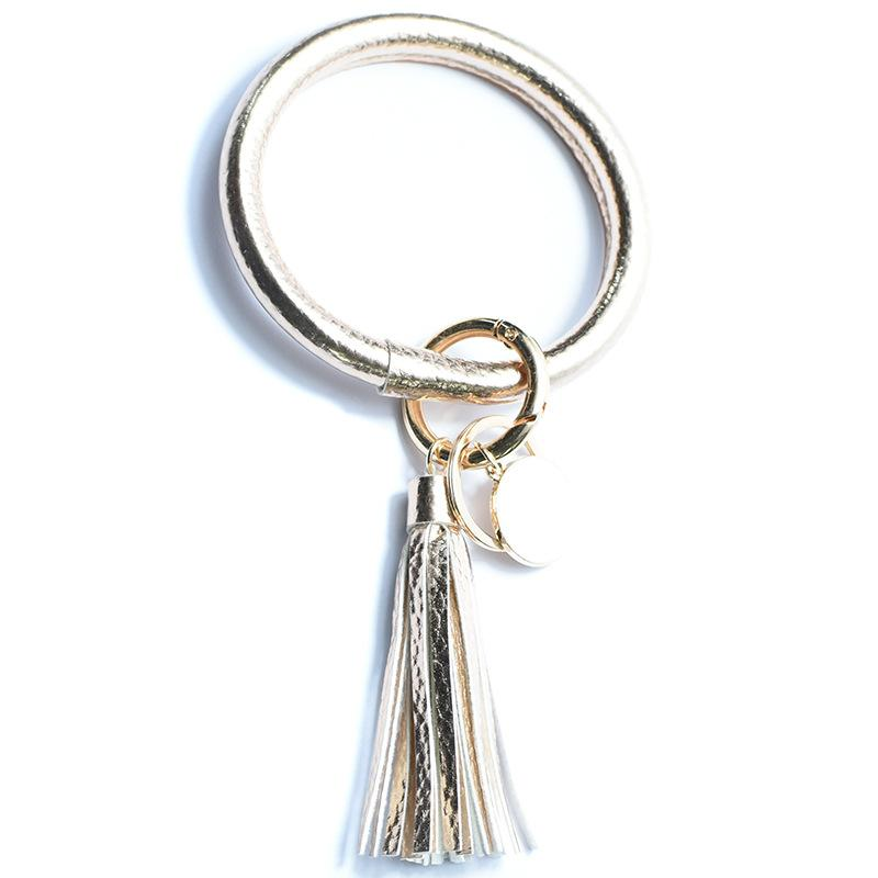 Leather Bangle with Tassel Key Ring